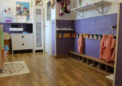 Espacio para las pertenencias del alumnado del aula 2-3 años