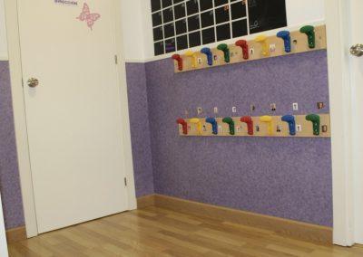 Espacio para las pertenencias del alumnado del aula 0-2 años